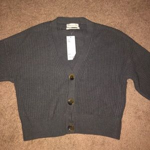 Cropped button-up sweater
